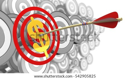 3d illustration of circles target with arrow and dollar sign over many targets background