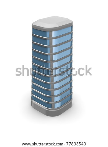 3d illustration of city building over white background - stock photo