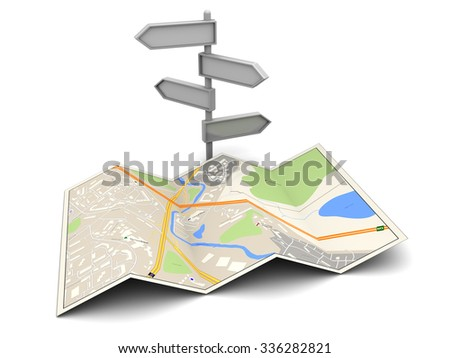 3d illustration of city map and index, over white background - stock photo