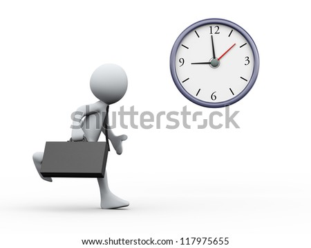 3d Illustration of clock and man running with briefcase . 3d rendering of human character businessman. - stock photo