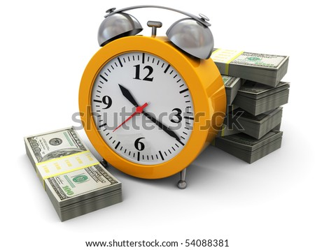3d illustration of clock with big heap of money