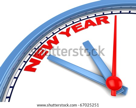 3d illustration of clock with sign 'new year' on it - stock photo
