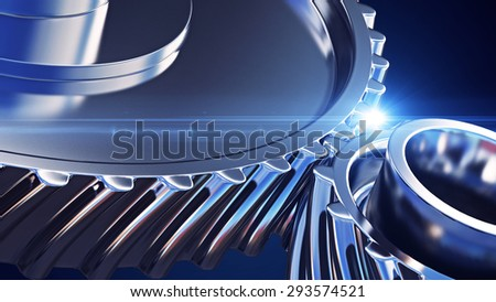 3d illustration of close up gears with depth of field effects - stock photo