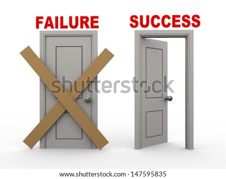 3d illustration of closed door of concept of failure and open door having word success. - stock photo