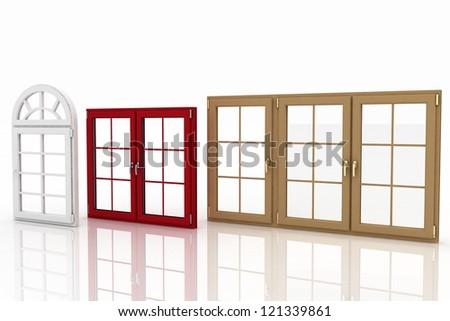 3d illustration of closed plastic windows on white background - stock photo