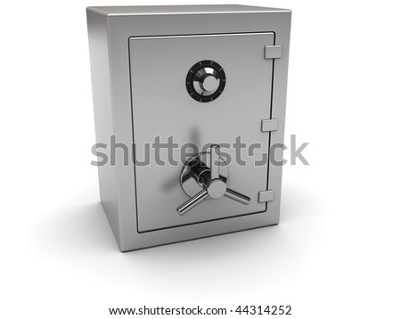 3d illustration of closed steel safe over white background - stock photo
