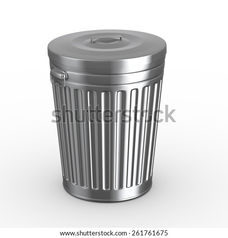3d illustration of closed steel shiny metal trash can bin white background - stock photo