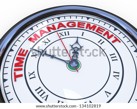 3d illustration of closeup of clock with words time management - stock photo
