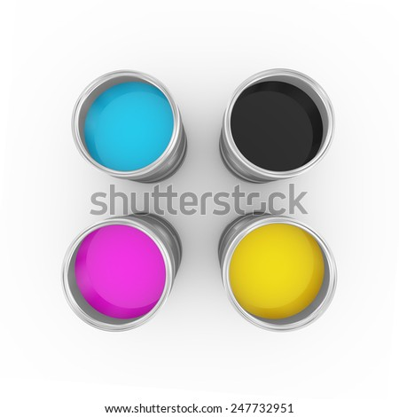 3d illustration of cmyk cyan, magenta, yellow, and key(black) printing color paint bucket cans topview. - stock photo