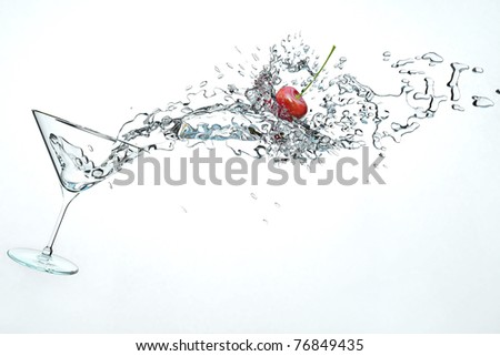 3D illustration of cocktail drink with a little cherry - stock photo