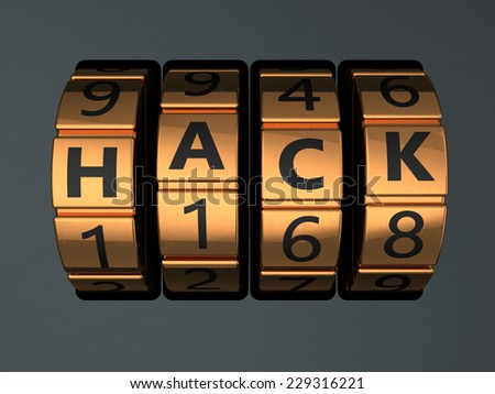 3d illustration of code lock with text 'hack' on it - stock photo