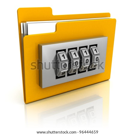 3d illustration of code protected folder - stock photo