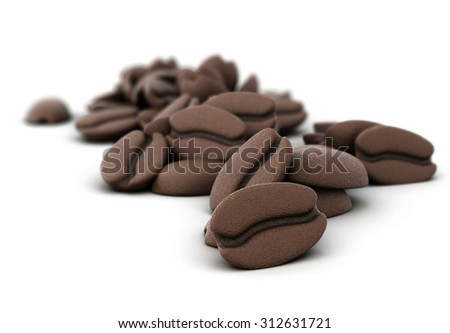 3D illustration of coffee beans close-up on a white background - stock photo