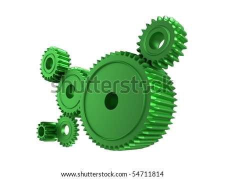 3d illustration of cogs/gears on a white background - stock photo