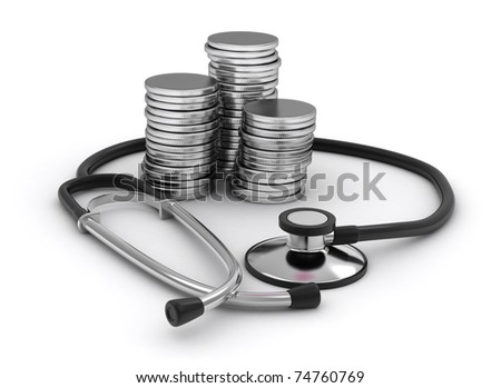 3D Illustration of Coins and a Stethoscope - stock photo
