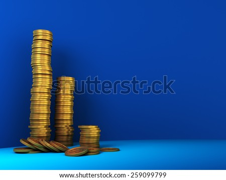 3d illustration of coins over blue background with space for text - stock photo