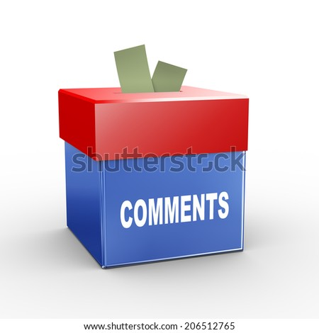 3d illustration of collection box of comments - stock photo