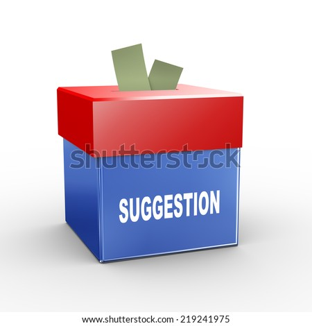 3d illustration of collection box of suggestion - stock photo