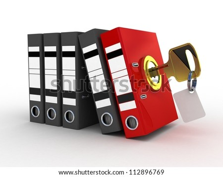 3d illustration of color folder locked with key - stock photo