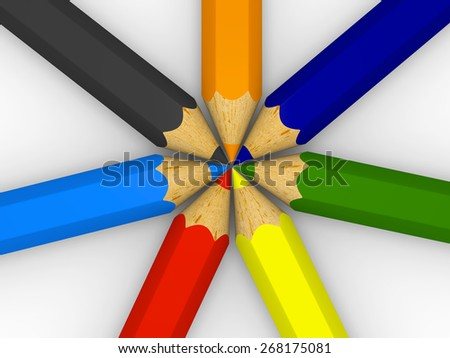 3D illustration of color pencils lined up in circle - stock photo