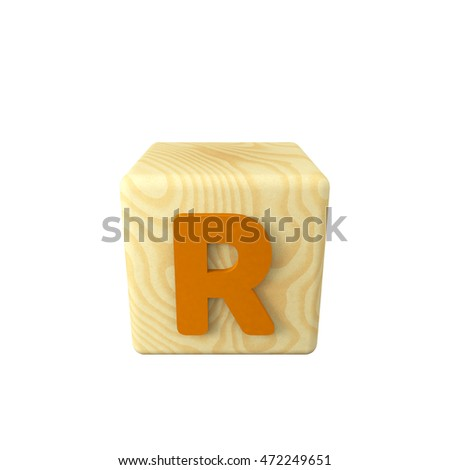 3D illustration of colored letter R on a wooden toy cube on white background