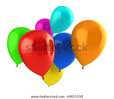 3d illustration of colorful balloons group isolated over white background