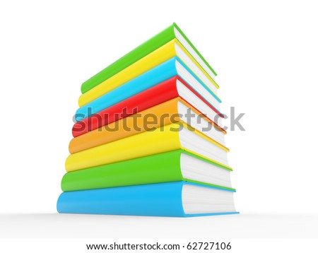 3d illustration of colorful books stack isolated on a white background