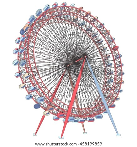 3D Illustration Of Colorful Double Carousel 50 - stock photo