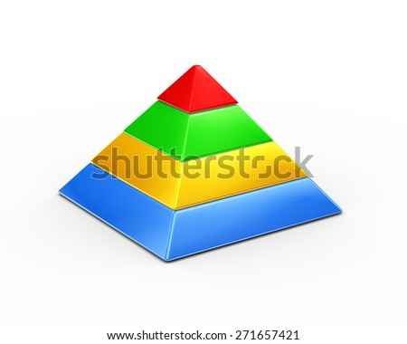 3d illustration of colorful four layer pyramid on white background  - stock photo