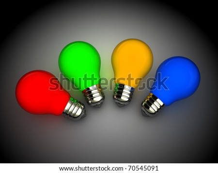 3d illustration of colorful light bulbs over dark background