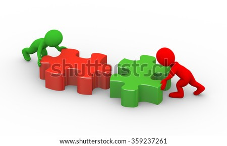 3d illustration of colorful people pushing puzzle pieces to solve problem. Concept of team work and rendering of human people man character - stock photo