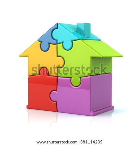 3d illustration of colorful puzzle house isolated on white background