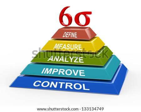 3d illustration of colorful pyramid representing concept of six sigma. - stock photo