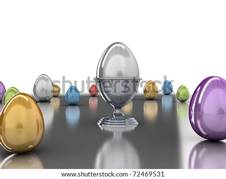 3D illustration of colorful shiny Easter eggs