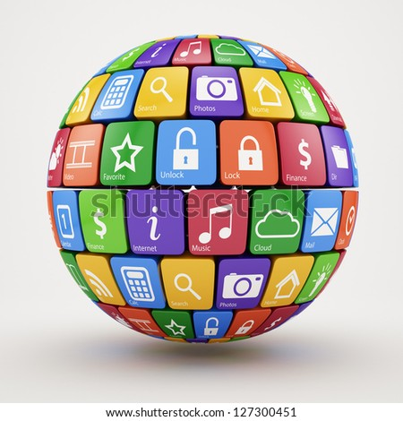 3d illustration of colorful social media sphere - stock photo