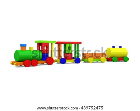 3D illustration of colorful toy train isolated on white background.