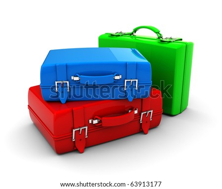 3d illustration of colorful travel bags over white background - stock photo