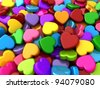 3D Illustration of Colorful Valentine Hearts - stock photo