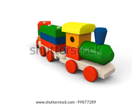 3D illustration of colorful wooden toy train
