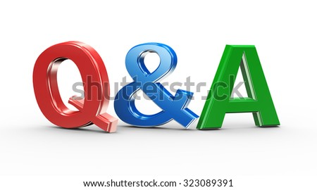 3d illustration of colorful word text q&a question answer - stock photo
