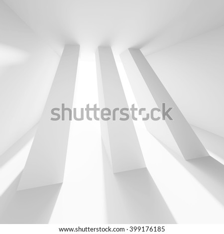 3d Illustration of Column Interior Design. White Modern Background