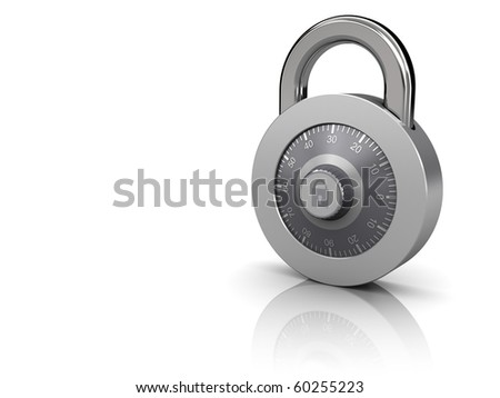 3d illustration of combination lock at right side of white background - stock photo