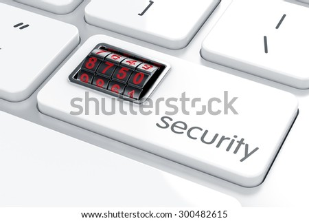 3d illustration of combination lock on the computer keyboard. Security concept  - stock photo