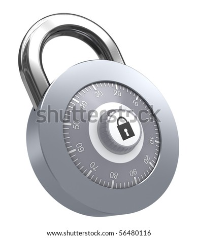 3d illustration of combination lock over white background - stock photo