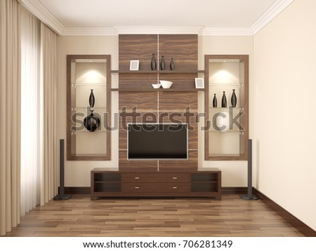 3d Illustration Of Comfortable Contemporary Living Room With TV Unit. 3d  Render.