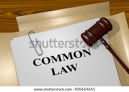 3D illustration of COMMON LAW title on Legal Documents. Legal concept.