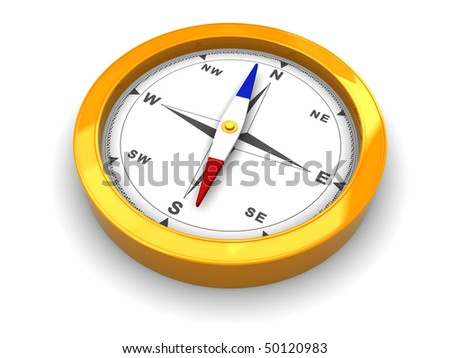 3d illustration of compass isolated over white background