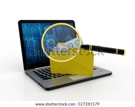 3D illustration of Computer and folder with files and magnifying glass. Files search