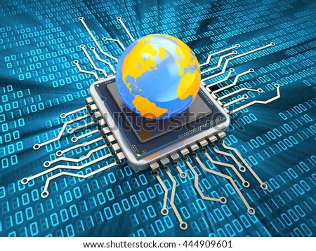 3d illustration of computer chip and earth globe - stock photo