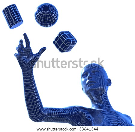3D illustration of computer generated, wire framed woman, reaching with her hand for the three basic 3D shapes: spher, cube and cylinder - stock photo